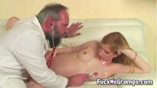 Dirty granpda with pregnant blonde