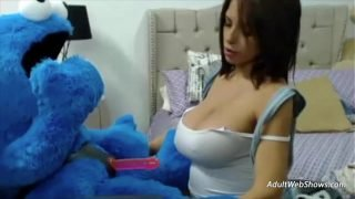Pregnant ebony plays with Cookie Monster – AdultWebShows.com
